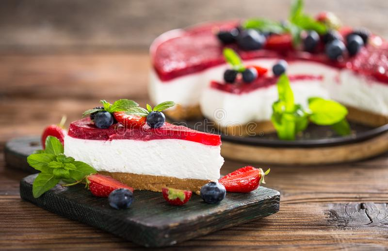 Homemade cheesecake with fresh berries stock photo
