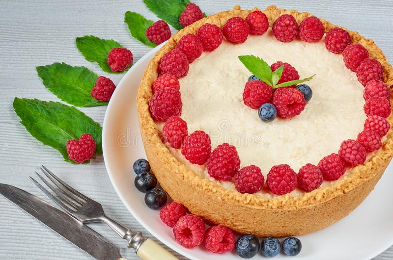 Homemade cheesecake with fresh berries on the white plate decorated with raspberries and blueberries, mint on the gray background stock image