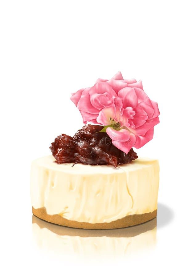 Homemade Cheesecake z truskawkowym dżemem Topping i różową różą wyizolowaną na białym tle ilustracji