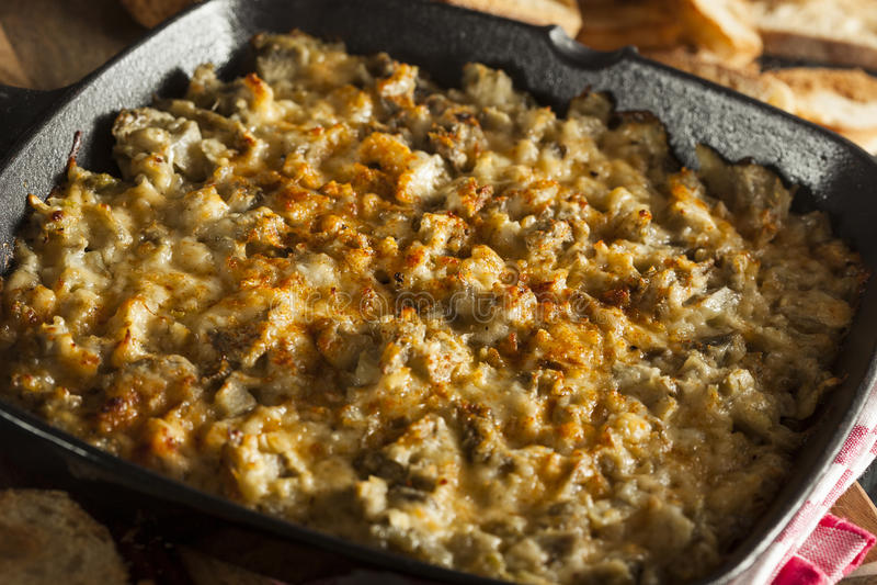 Homemade Cheesy Garlic Artichoke Spread royalty free stock photography