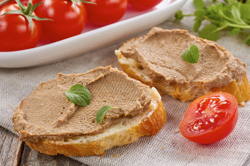 Homemade chicken liver pate royalty free stock photos