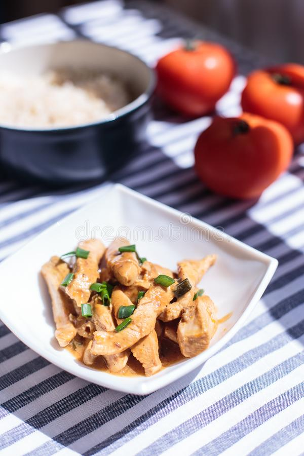 Homemade Chicken meat in sauce royalty free stock images
