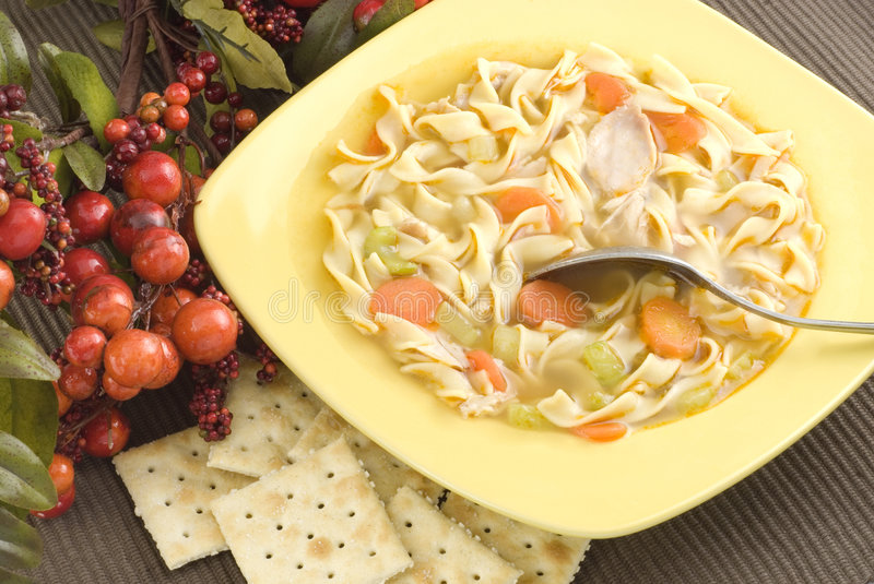 Download Homemade Chicken Noodle Soup With Crackers Stock Photography - Image: 8380902