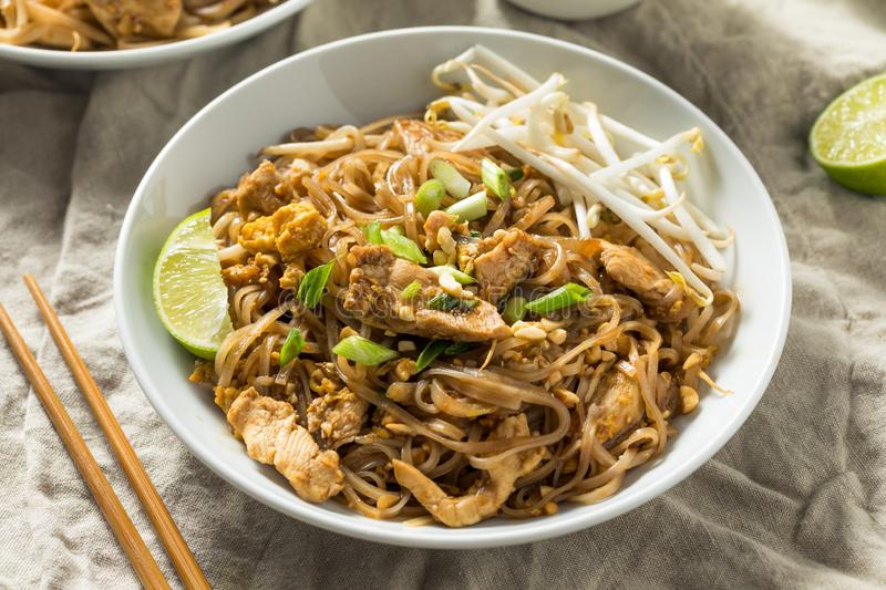Homemade Chicken Pad Thai. With Bean Sprouts and Peanuts stock images