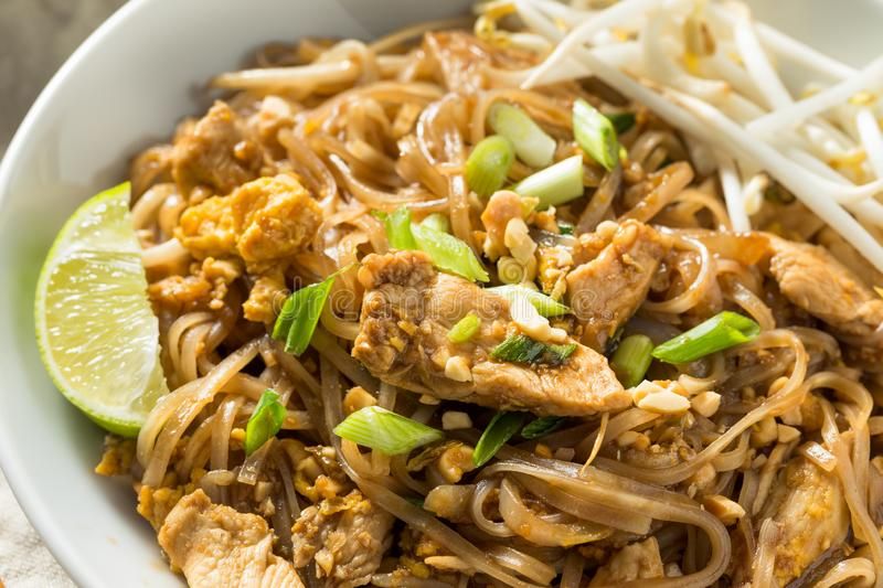 Homemade Chicken Pad Thai. With Bean Sprouts and Peanuts royalty free stock photos