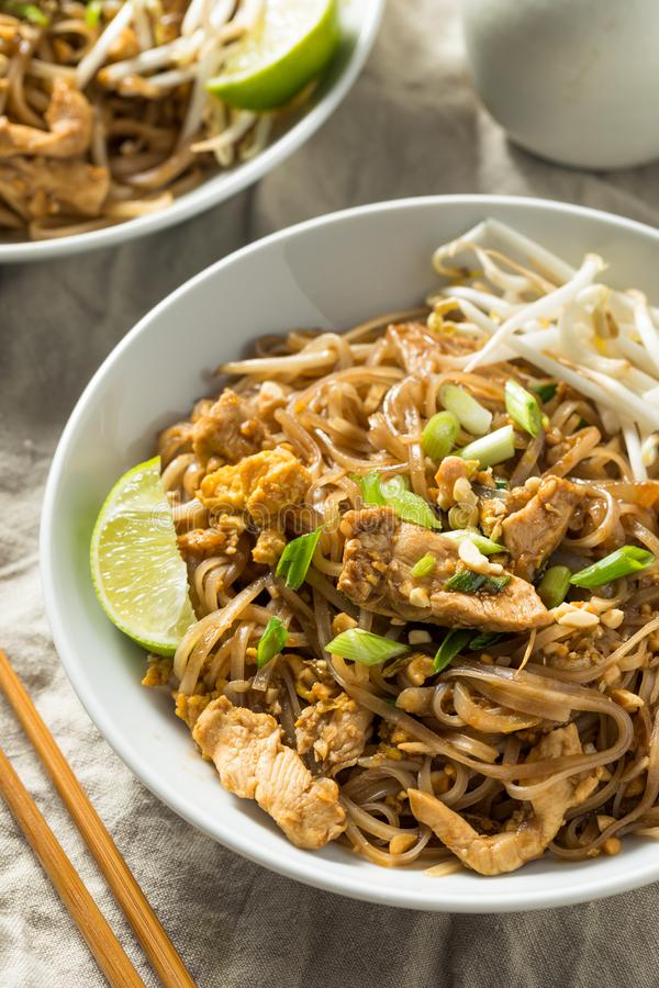 Homemade Chicken Pad Thai. With Bean Sprouts and Peanuts stock photo