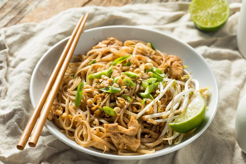 Homemade Chicken Pad Thai. With Bean Sprouts and Peanuts royalty free stock image