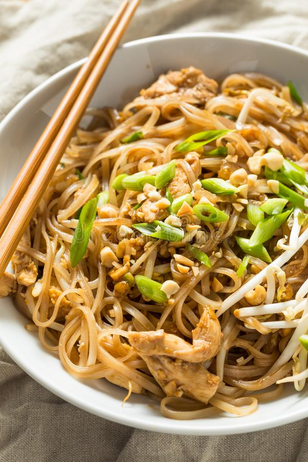 Homemade Chicken Pad Thai. With Bean Sprouts and Peanuts royalty free stock images