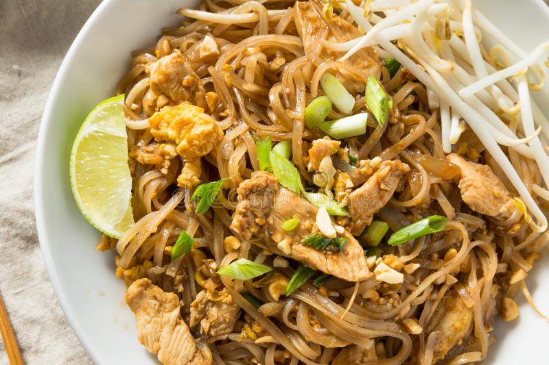 Homemade Chicken Pad Thai. With Bean Sprouts and Peanuts royalty free stock photography