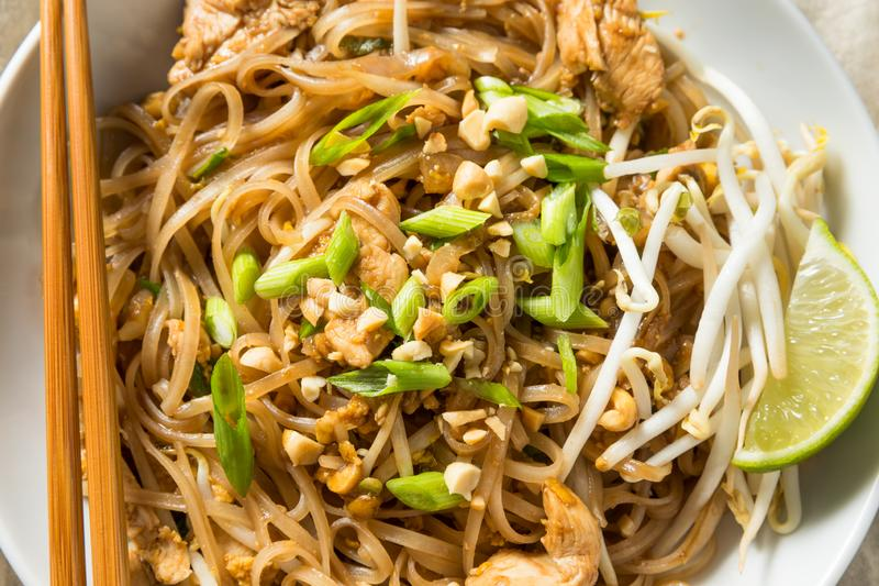 Homemade Chicken Pad Thai. With Bean Sprouts and Peanuts stock photography