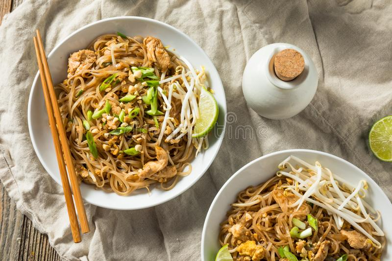 Homemade Chicken Pad Thai. With Bean Sprouts and Peanuts stock photos