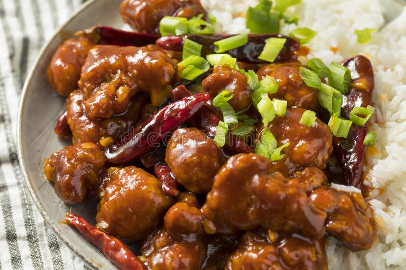 Homemade Chinese General Tsos Chicken stock photography