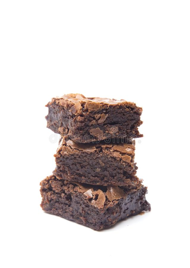Homemade Chocolate Brownies. Homemade Gooey Double Chocolate Brownies on a White Background stock photos