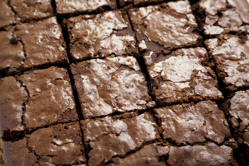 Homemade chocolate brownies, low angle view. Closeup. Freshly baked.  royalty free stock photos