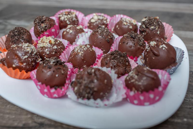 Homemade chocolate cake-pop royalty free stock images