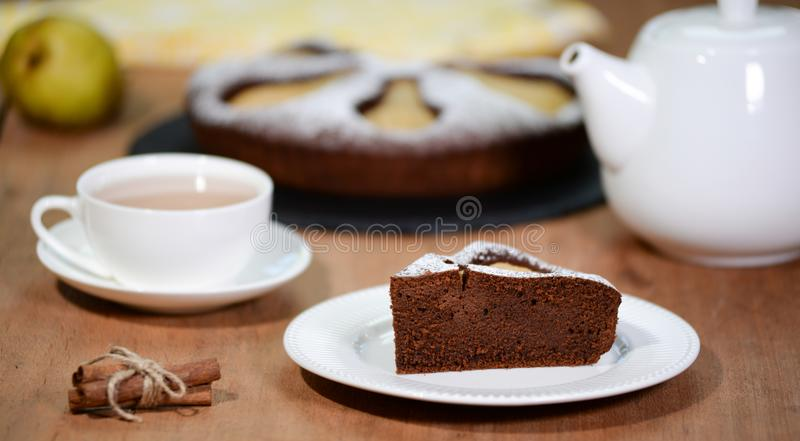 Homemade Chocolate Pear Cake.Piece of Chocolate Pear Cake stock images