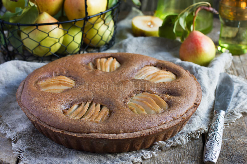 Homemade chocolate tart with frangipane and pears stock images