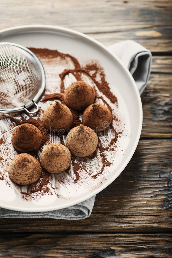 Homemade chocolate truffle stock photos