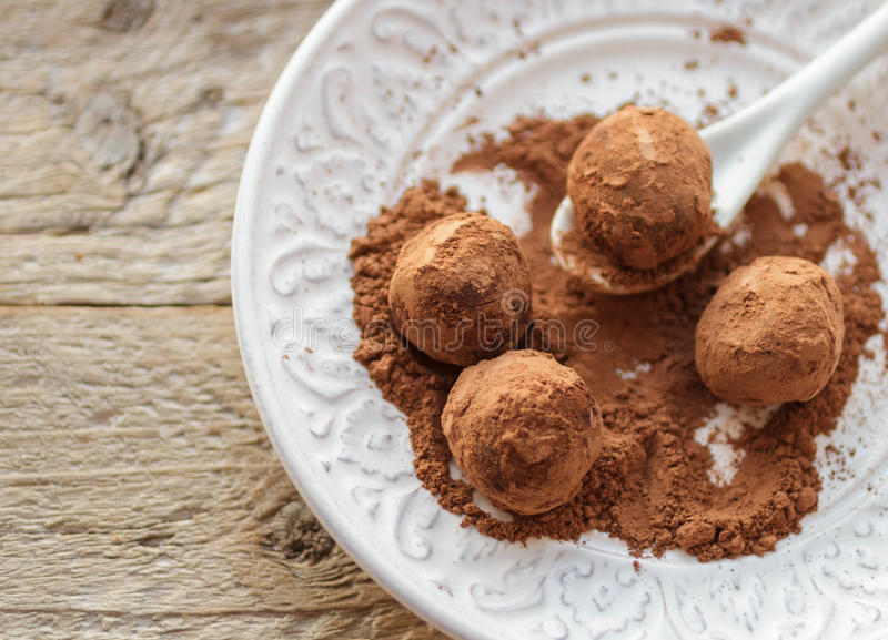 Homemade chocolate truffles with cocoa powder on a white plate stock image