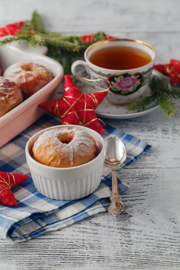 Homemade Christmas baked apples stock image