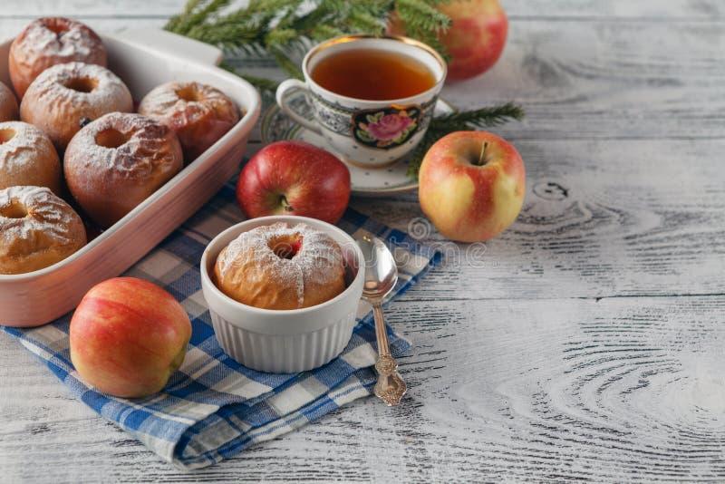Homemade Christmas baked apples stock photos