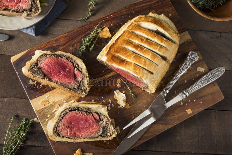 Homemade Christmas Beef Wellington stock image