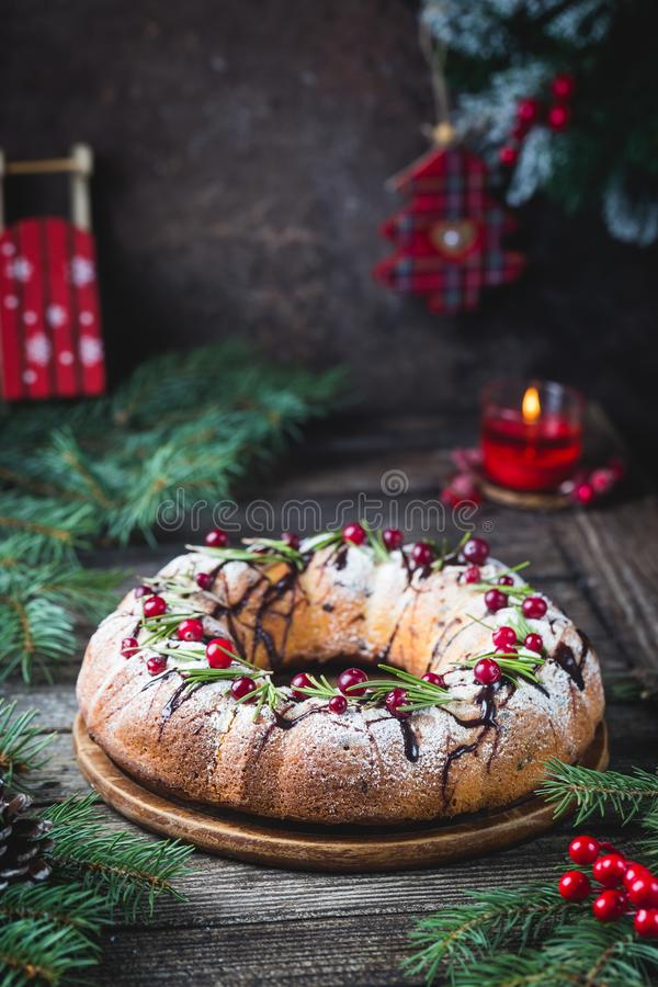 Homemade christmas cake royalty free stock photos