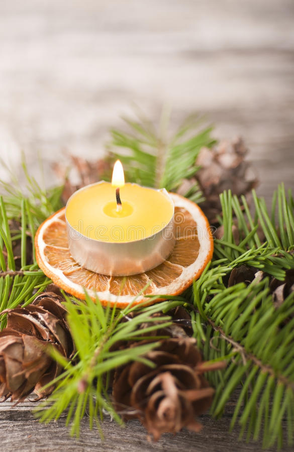Download Homemade Christmas candle stock photo. Image of cone - 25121320