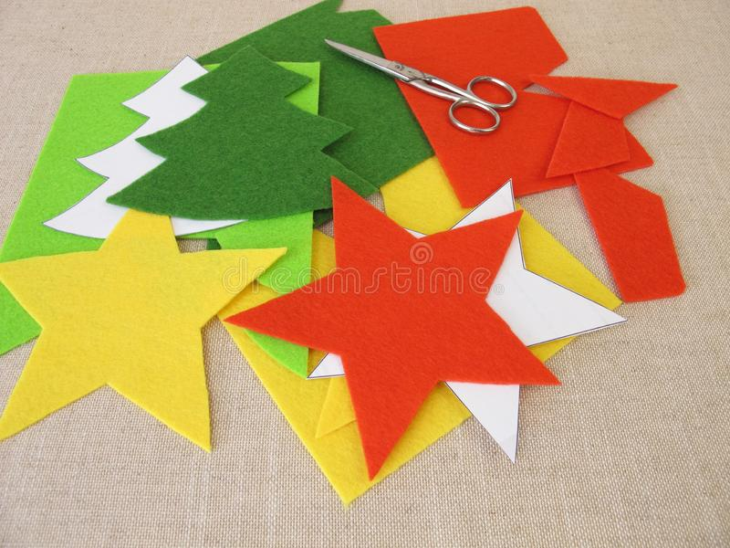Christmas crafts with felt. Homemade christmas crafts with felt royalty free stock photos