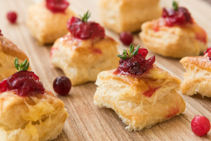 Homemade christmas cranberry and cheese bites stock image