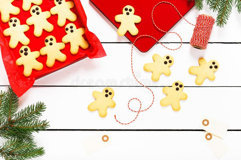 Homemade Christmas gingerbread butter biscuits cookies in a tin box. royalty free stock images