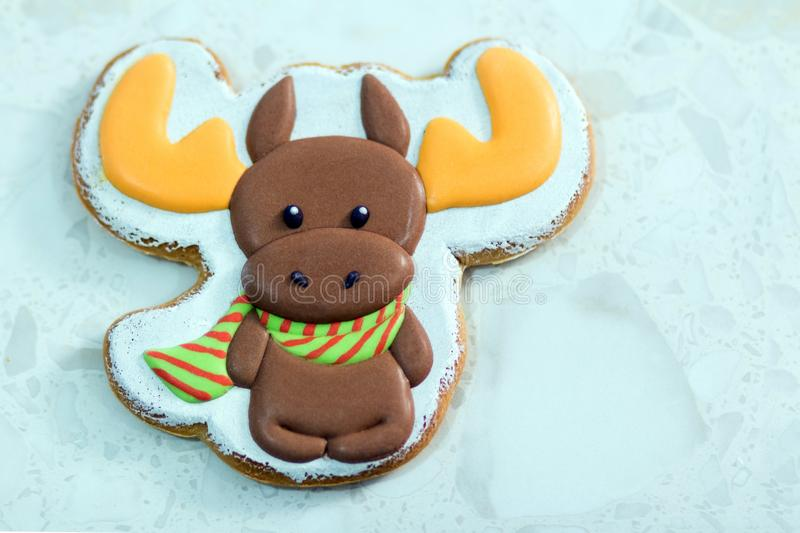 Homemade Christmas gingerbread decorated in the form of a deer or elk on the white background. stock image