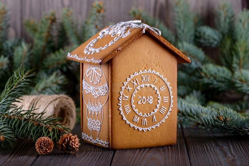 Homemade christmas gingerbread house royalty free stock photo