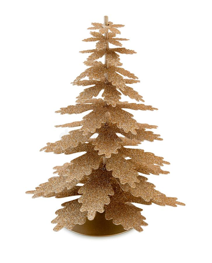 Homemade Christmas golden metallic tree decoration isolated on white background with clipping path. Xmas tree royalty free stock photos