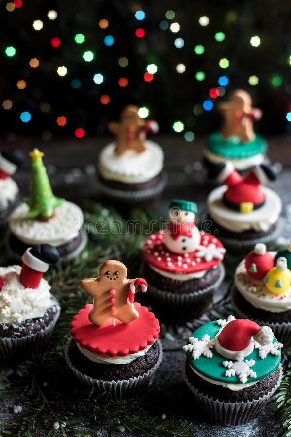 Homemade Christmas sweet cupcakes stock image