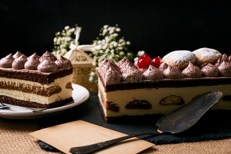 Homemade Christmas tiramisu cake stock photography