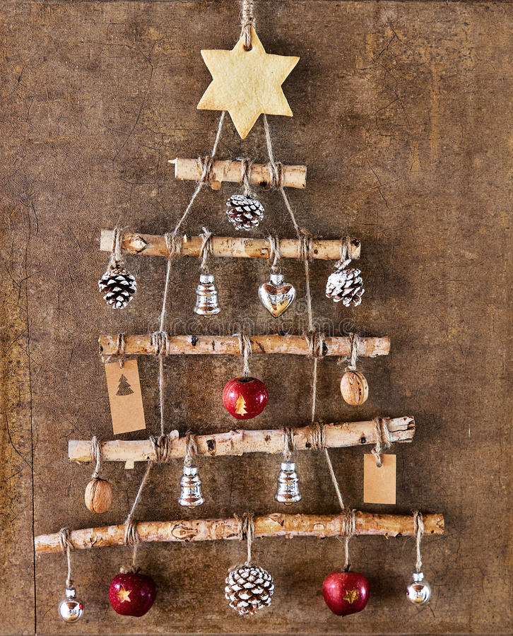 Homemade Christmas Tree Decoration In Frame Stock Photo - Image of ...