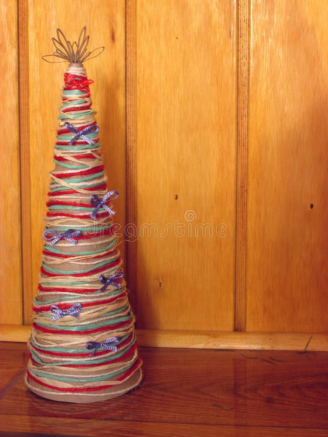 DIY homemade Christmas tree. Materials for Christmas crafts project. Do-it-yourself. Christmas tree decorations. DIY homemade Christmas tree. Materials for royalty free stock photo