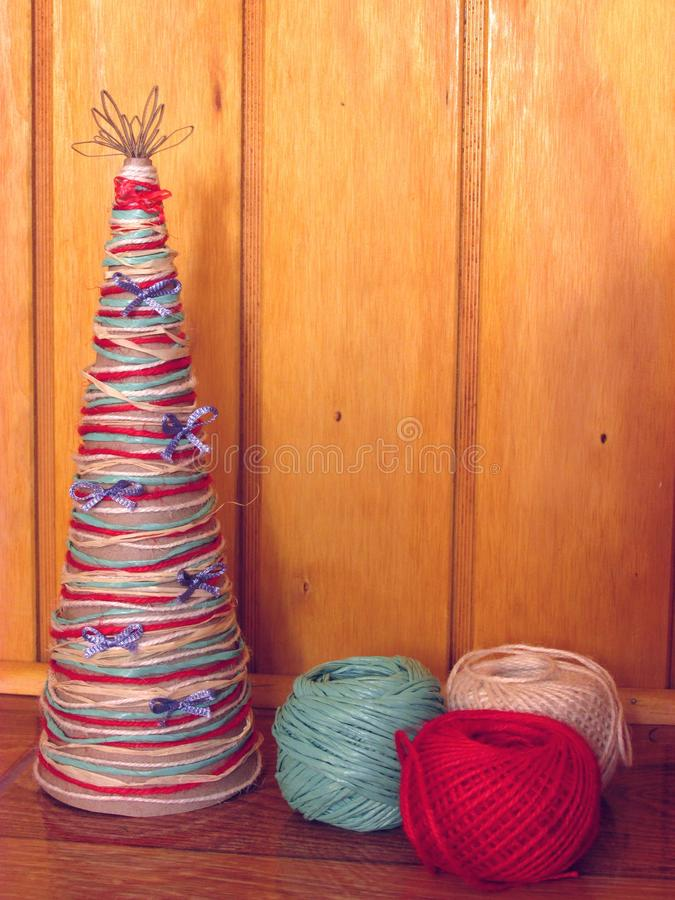 DIY homemade Christmas tree. Materials for Christmas crafts project. Do-it-yourself. Christmas tree decorations. stock photography