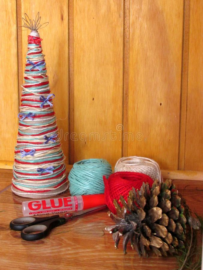 DIY homemade Christmas tree. Materials for Christmas crafts project. Do-it-yourself. Christmas tree decorations. stock image