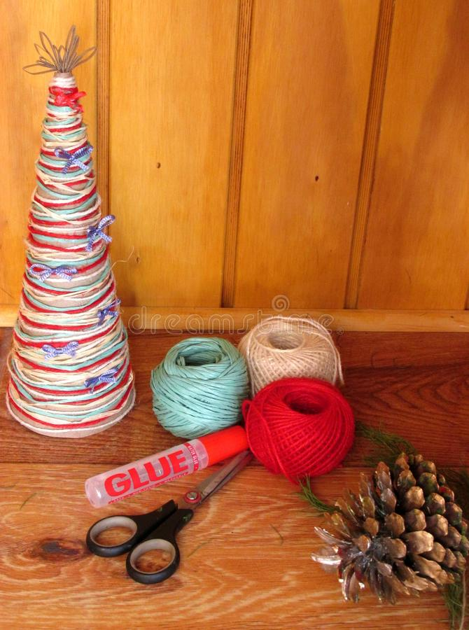 DIY homemade Christmas tree. Materials for Christmas crafts project. Do-it-yourself. Christmas tree decorations. royalty free stock photo
