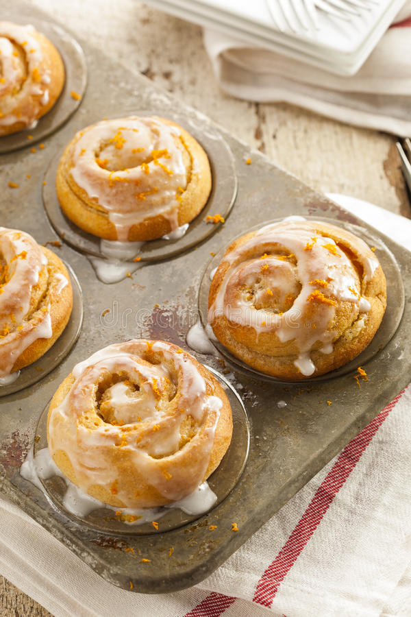 Homemade Cinnamon Roll Sticky Buns. With Icing stock images