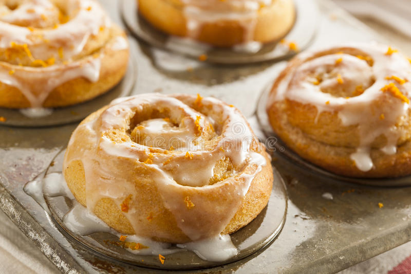 Homemade Cinnamon Roll Sticky Buns. With Icing royalty free stock images