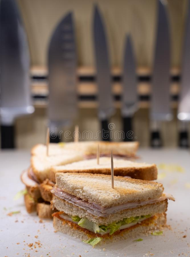 Homemade club sandwich close up stock photography