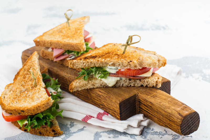 Homemade club sandwiches stock images