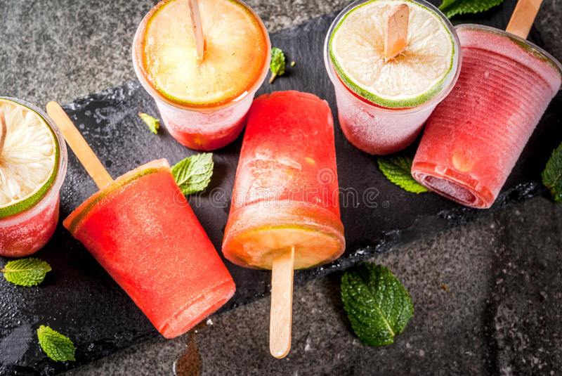 Homemade cocktail popsicles royalty free stock images