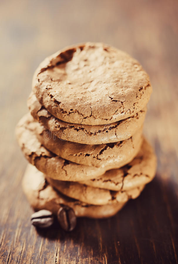 Homemade coffee cookies closeup royalty free stock photo