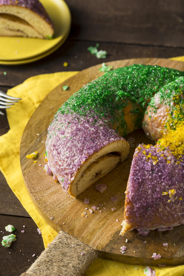 Homemade Colorful Mardi Gras King Cake royalty free stock photos