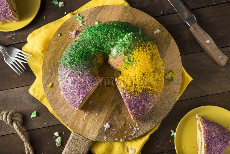 Download Homemade Colorful Mardi Gras King Cake Stock Photo - Image: 88133200