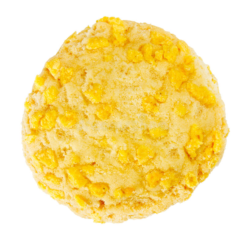 Homemade Cookie With Cornflake Chips. Homemade cookie with cornflake pieces isolated on white stock photography